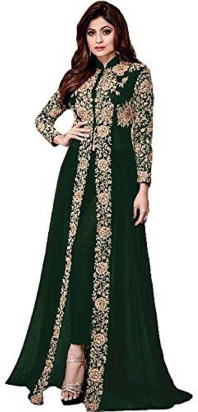129711a8ff Viha Faux Georgette Embroidered Semi-stitched Gown, Salwar and Dupatta Material  Price in India - Buy Viha Faux Georgette Embroidered Semi-stitched Gown, ...