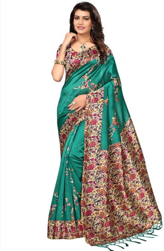 87b9a437e Buy HITESH ENTERPRISE Floral Print Mysore Art Silk Green Sarees ...