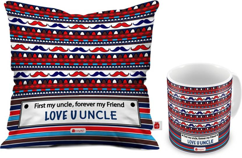 Indigifts Gift For Uncle Birthday And Aunty Anniversary D CM001 UNC17022 Cushion Mug Set Price In India