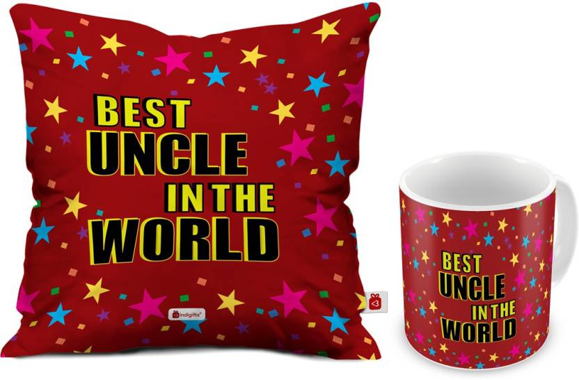 Indigifts Uncle Gift For Birthday And Aunty Anniversary D CM001 UNC17001 Cushion Mug Set Price In India