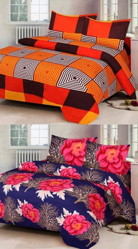 f0fd2d6641 Profitblitz 140 TC Polycotton Double 3D Printed Bedsheet (Pack of 2,  Multicolor)