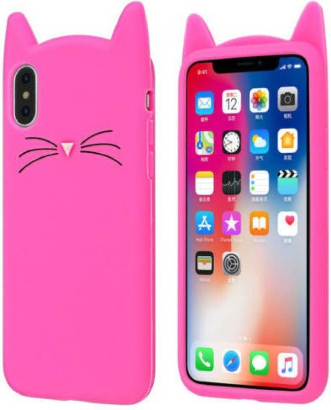 quality design 87681 12ad5 Acesquare Back Cover for Apple iPhone X Cute Cartoon Beard Cat Ear ...