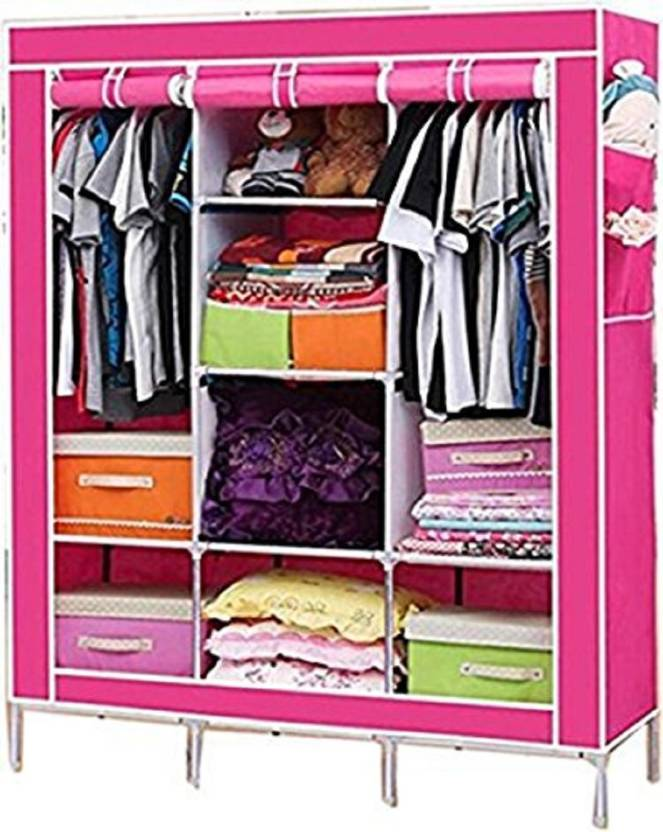 Maison & Cuisine 88130 Pink PP Collapsible Wardrobe