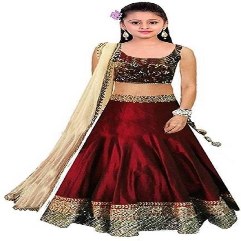 c6fd976e1e5 Shree Krishna Fashion Girl s Lehenga Choli Ethnic Wear Embroidered Lehenga
