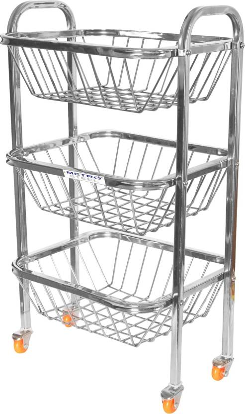 limetro 3 racks fruits and vegetables wheel basket steel kitchen