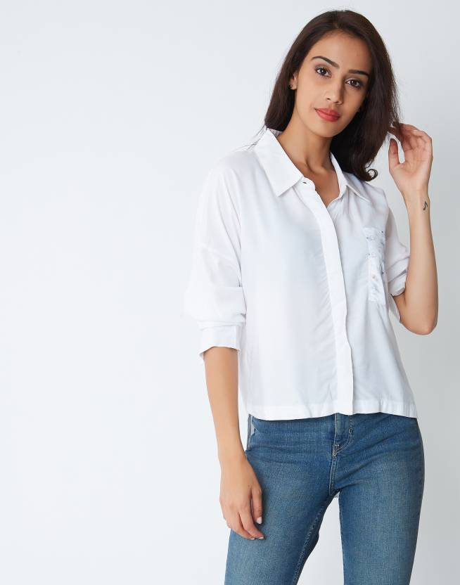 e136c5d5 Provogue Women's Printed Casual White Shirt - Buy White Provogue Women's  Printed Casual White Shirt Online at Best Prices in India | Flipkart.com