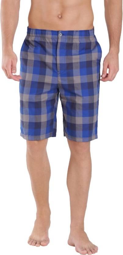 brand new double coupon 100% quality quarantee Jockey Checkered Men Blue Bermuda Shorts