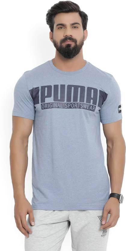 9a4e461ba5b0 Puma Printed Men s Round Neck Blue T-Shirt - Buy Infinity Heather Puma  Printed Men s Round Neck Blue T-Shirt Online at Best Prices in India