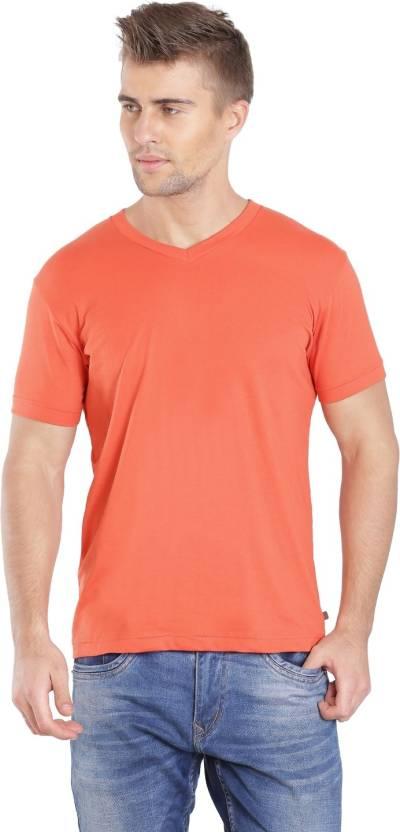 6dab1f94c Jockey Solid Men V-neck Orange T-Shirt - Buy Orange Rust Jockey Solid Men V- neck Orange T-Shirt Online at Best Prices in India