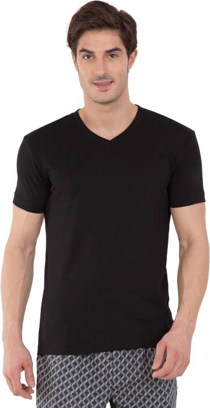 db889918e Jockey Solid Men V-neck Black T-Shirt - Buy Black Jockey Solid Men V-neck Black  T-Shirt Online at Best Prices in India