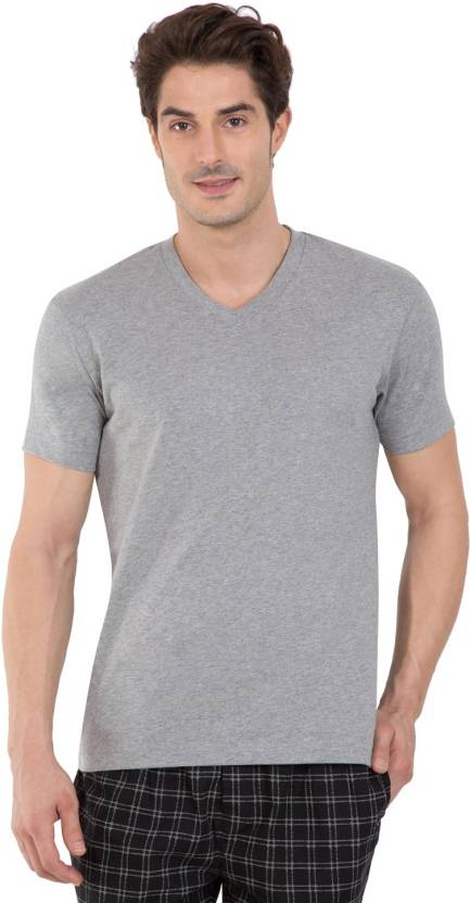9fd6d35f498 Jockey Solid Men V-neck Grey T-Shirt - Buy Grey Melange Jockey Solid Men V- neck Grey T-Shirt Online at Best Prices in India
