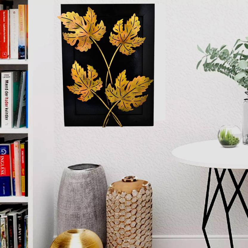 Artlivo Home Decor Iron Handmade Leaf Design Natural Theme Decorative Wall Hanging Showpiece Gift 20 15 3 Inches Diwali Decoration Items For 50 Cm
