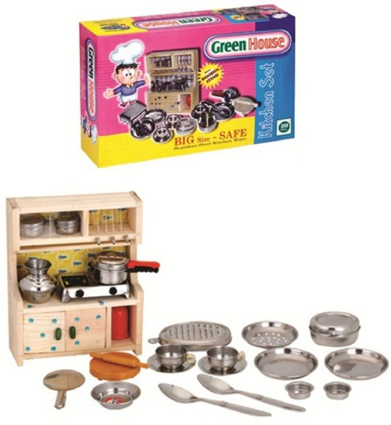 Vshine Kitchen Set Indian Non Toxic With Wooden Stand And Ss