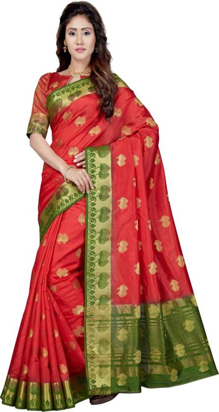 5654e2e938ad0 Buy Saree Swarg Self Design Banarasi Art Silk Red Sarees Online ...