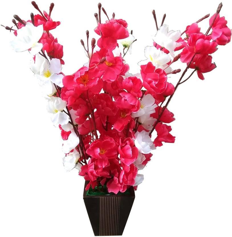 0721971cb6433 kaykon Supreme Home Decorative Artificial Flowers with Big Designer Wooden  Pot - 17 inch White