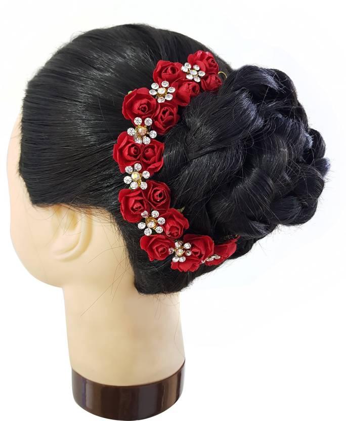 07e86b242 AASA Juda Gajra (Veni) For Women Wedding Hair Accessories, Red Hair  Accessory Set