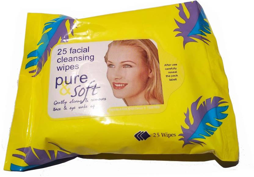 Pure & Soft FACIAL/FACE TISSUES -Wet-MAKEUP REMOVER-Tissue Paper Face Cleanser/Cleaning Wipes For Women & Girls (Pack of 25)