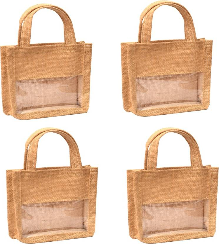 2b63ccfd9 Plain Jute Burlap complementary return gift bag (Set of 4) with transparent  front without zip closer Waterproof Multipurpose Bag (Brown