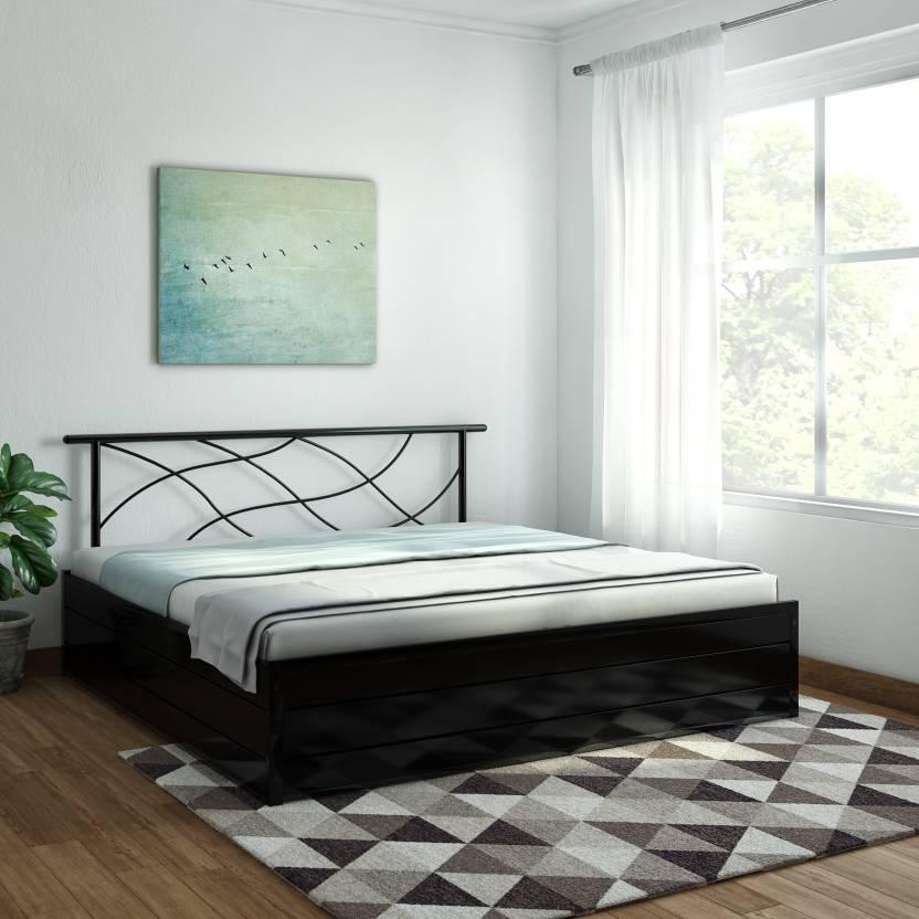 FurnitureKraft Lucerne Metal King Hydraulic Bed