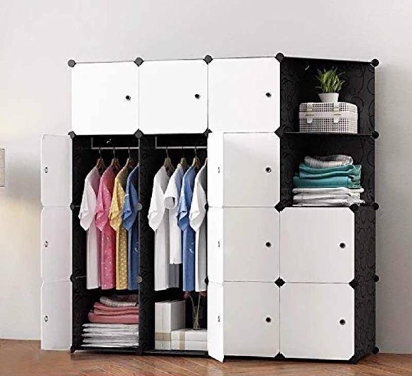 House of Quirk Plastic Portable Wardrobe Storage Organizer, White (14CUBE+2HANGER+2OPEN_CAB_WHII