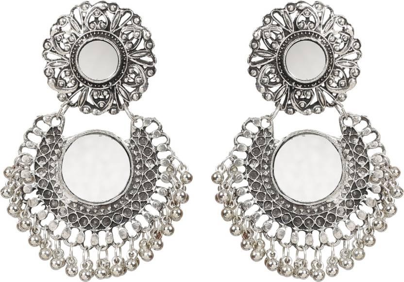Nawab Boho Gypsy Tel Mirror Earring For S And Women Silver Orange Alloy