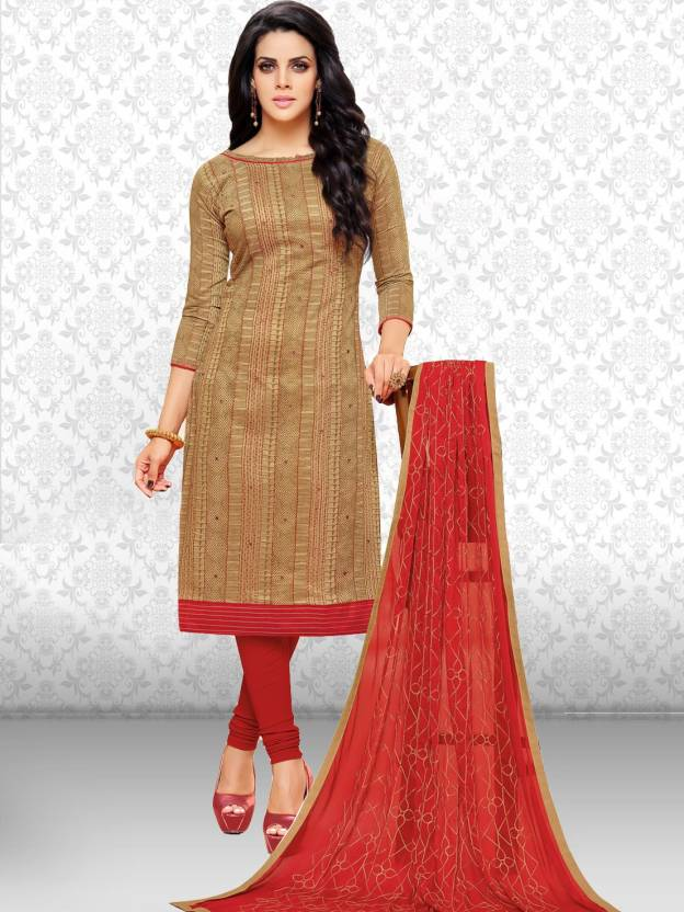 da83c34ad7 Divastri Chanderi Cotton Embroidered Salwar Suit Dupatta Material  (Un-stitched)