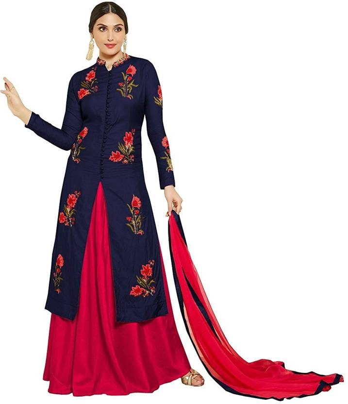 Ross And Rack Cotton Embroidered Semi Stitched Salwar Suit Dupatta