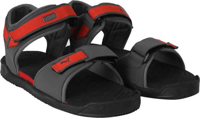 3adc42a7517676 Puma Men Black-Dark Shadow-High Risk Red Sandals - Buy Puma Men ...