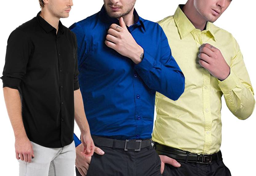 5811caf46 Trendz Deeksha Men Solid Casual Cut Away Shirt - Buy Trendz Deeksha ...