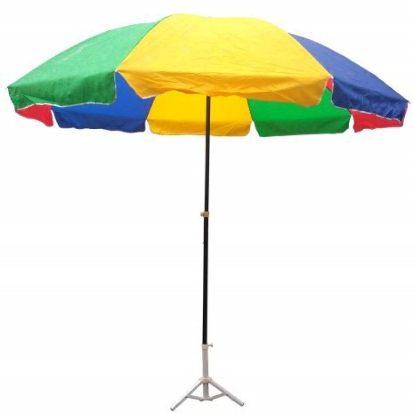 Rimzim Multicolor Pongee Cloth Garden Umbrella With Tripod Stand 40