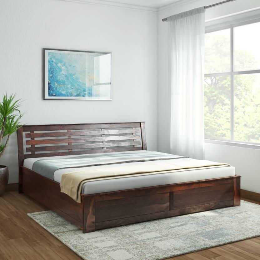 8c8c5f2adb Vintej Home Woodser Box Sheesham Solid Wood King Box Bed (Finish Color -  Provincial Teak)