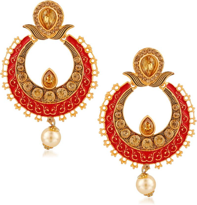 c31469fd754 Flipkart.com - Buy Rich Lady Rich Lady High Gold Plated Mat Look Lct Stone  Studded Chandbali Earrings For Womens   Girls Brass Dangle Earring Online  at Best ...