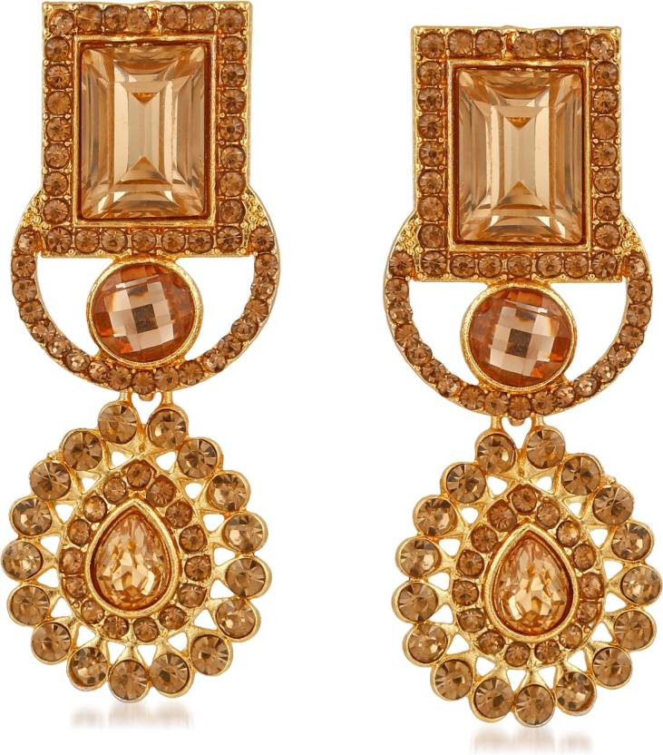 c450178a9e9 Flipkart.com - Buy Rich Lady Rich Lady Designer Party wear Gold Plated  Alloy Dangle Fashion Earring for Ladies Girls Brass Dangle Earring Online  at Best ...