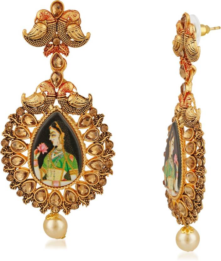 60442154cc3 Flipkart.com - Buy Rich Lady Rich Lady Gold Plated Picture Tassel Afghani  Padmavati Indian Traditional Earrings for Girls and Women Brass Dangle  Earring ...