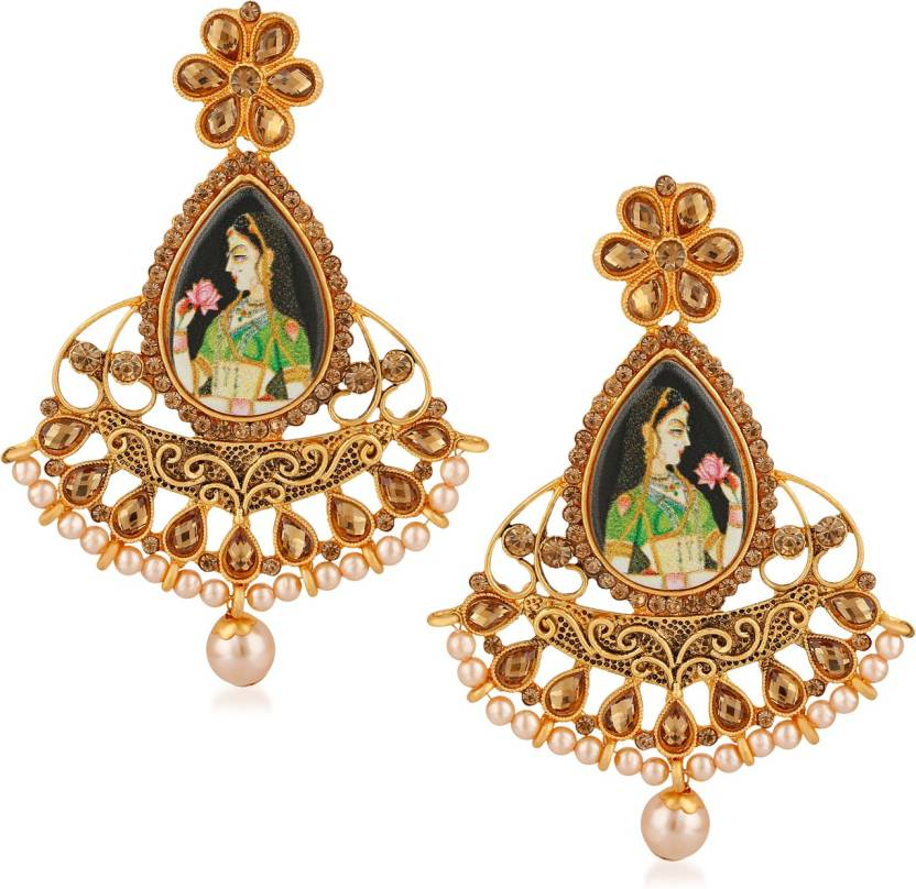 35ececcb6 Flipkart.com - Buy Rich Lady Rich Lady Gold Plated Picture Bollywood  Padmavati Indian Traditional Earrings for Girls and Women Brass Dangle  Earring Online ...
