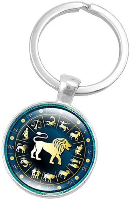 Zodiac Sign Aquarius Pink Leather Metal Keychain Key Ring