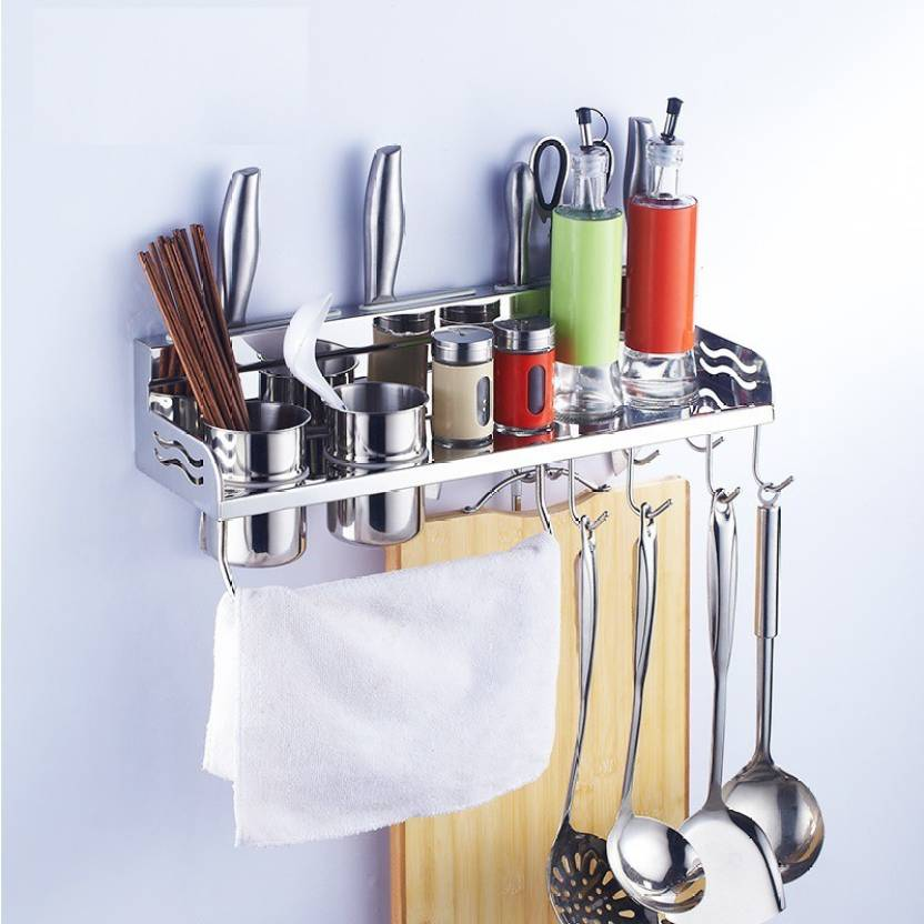 Kawachi Aluminum Kitchen Rack Cooking Tools Holder Spice Rack Aluminium Kitchen Rack (Silver)