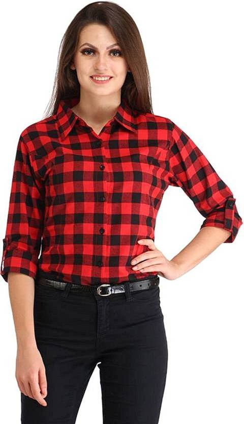 39abc136 Fashion Village1 Women Checkered Casual Button Down Shirt - Buy ...