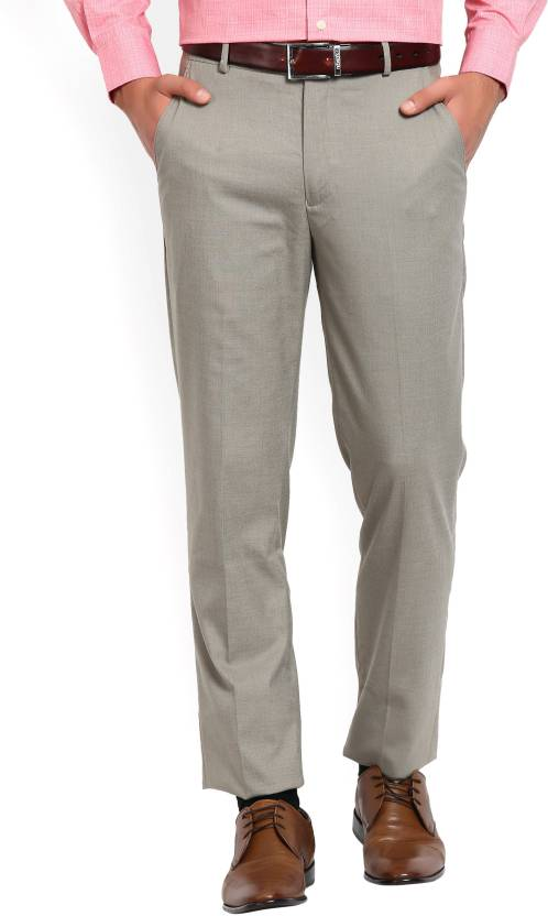 ad341a0fd Peter England Slim Fit Men Grey Trousers - Buy DarkBrownWithBrown Peter  England Slim Fit Men Grey Trousers Online at Best Prices in India