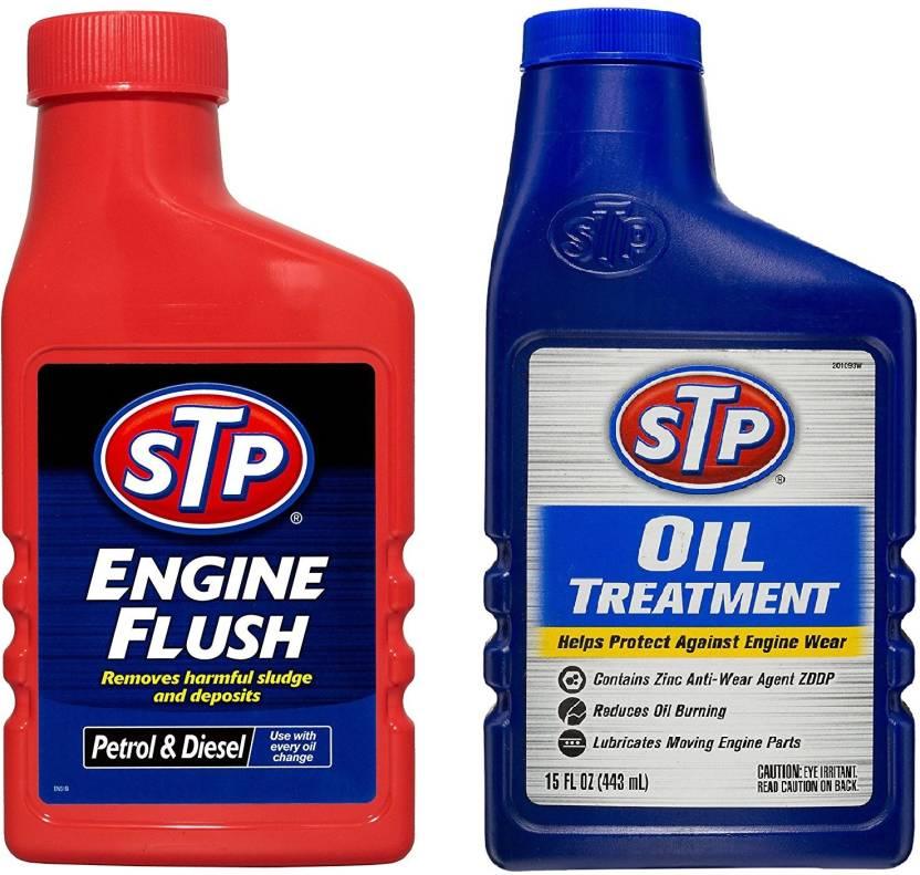 STP Engine Flush 450 Ml & Oil Treatment 443Ml Combo