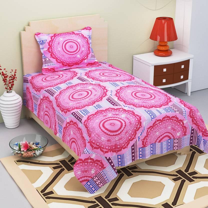 eaedcdb4b8 Amayra Home 120 TC Cotton Single Checkered Bedsheet (Pack of 1, Majenta)