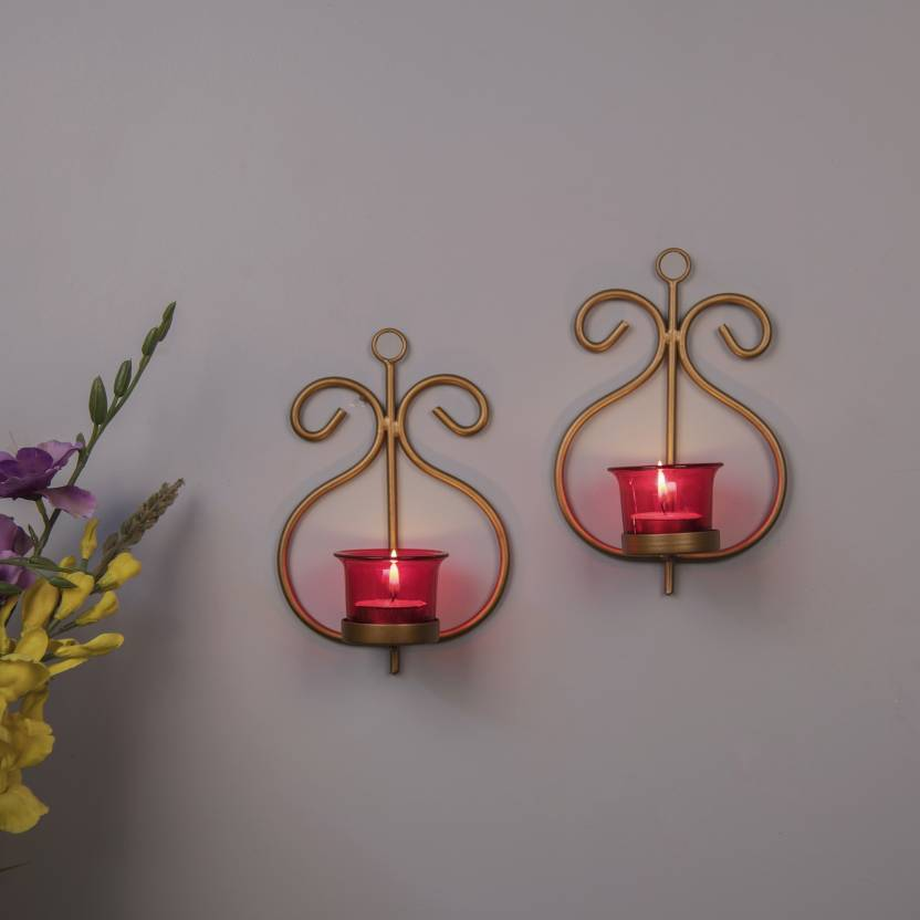 Homesake Set Of 2 Decorative Golden Wall Sconce Candle Holder With Red Gl And Free