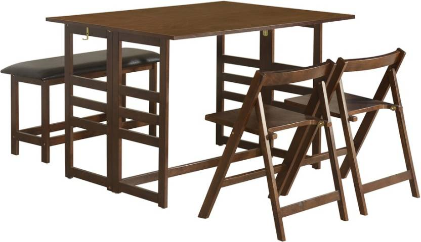 @home by Nilkamal Musk Solid Wood 4 Seater Dining Set Finish Color   Brown