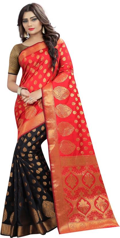 a90d8832ef Saree Museum Self Design, Woven Paithani Banarasi Silk, Art Silk Saree ( Black, Red)