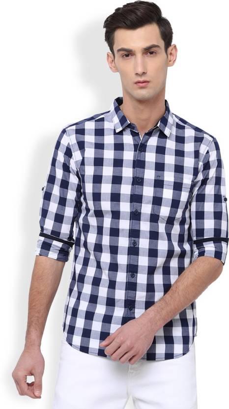 6b0ab93a32c8 Highlander Men's Checkered Casual White, Blue Shirt - Buy NAVY BLUE ...