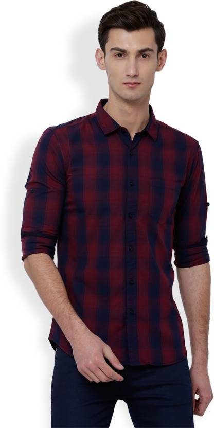 13c08ed41489 Highlander Men Checkered Casual Red, Blue Shirt - Buy NAVY BLUE/RED Highlander  Men Checkered Casual Red, Blue Shirt Online at Best Prices in India ...