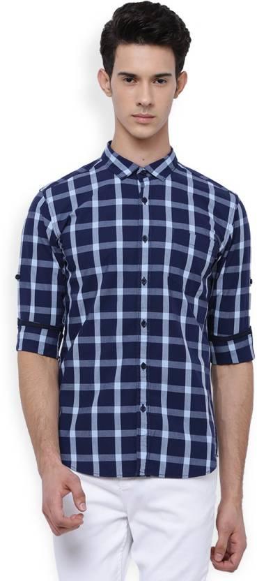 c8e238ac81a1 Highlander Men's Checkered Casual Dark Blue Shirt - Buy NAVY BLUE/LT ...