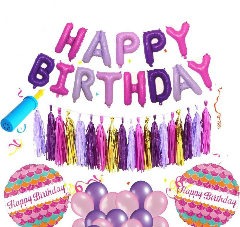 AMFIN Printed Happy Birthday Foil Balloons With Matching Tassel Set Decorations Items Combo Balloon Multicolor Pack Of 117