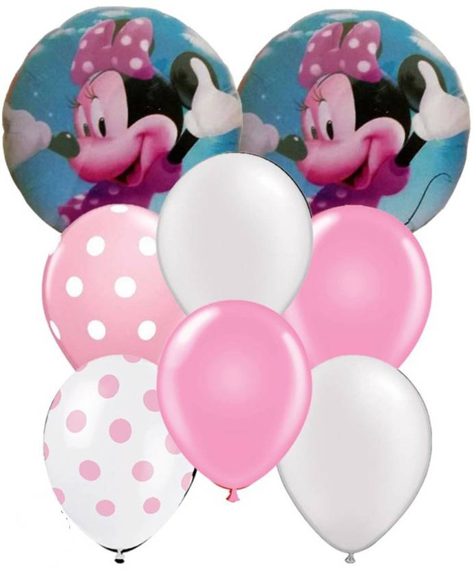 PARTY PROPZ Printed Minnie Mouse Balloon 42 Combo 40 Balloons 2 Foil For Birthday Decoration STO2126 Multicolor Pack Of