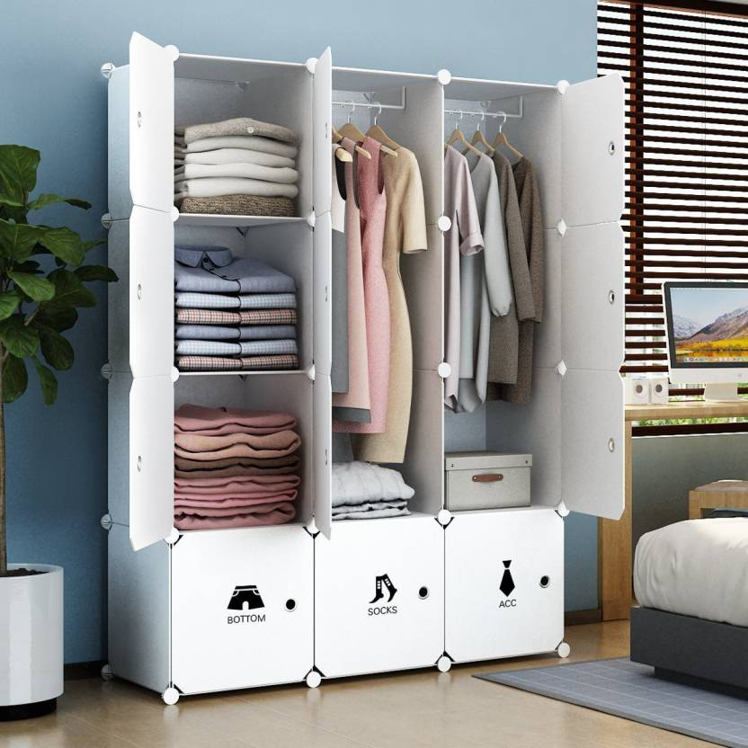 House of Quirk Portable Closet Clothes Wardrobe Bedroom Storage Organizer  with Doors 12 Printed Cube & 2 Hanger PVC Collapsible Wardrobe